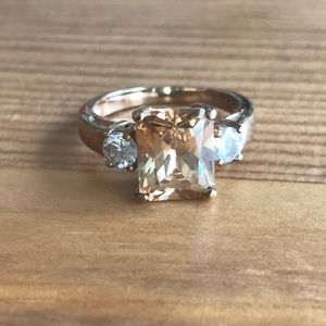 Jewelry - Super stunning champagne and white CZ ring. 7